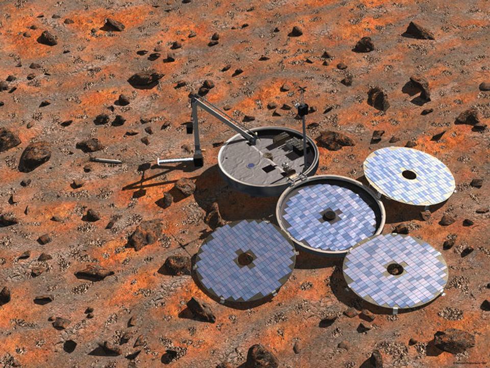Artist's impression of Beagle 2 lander on rocky brown Martian terrain.
