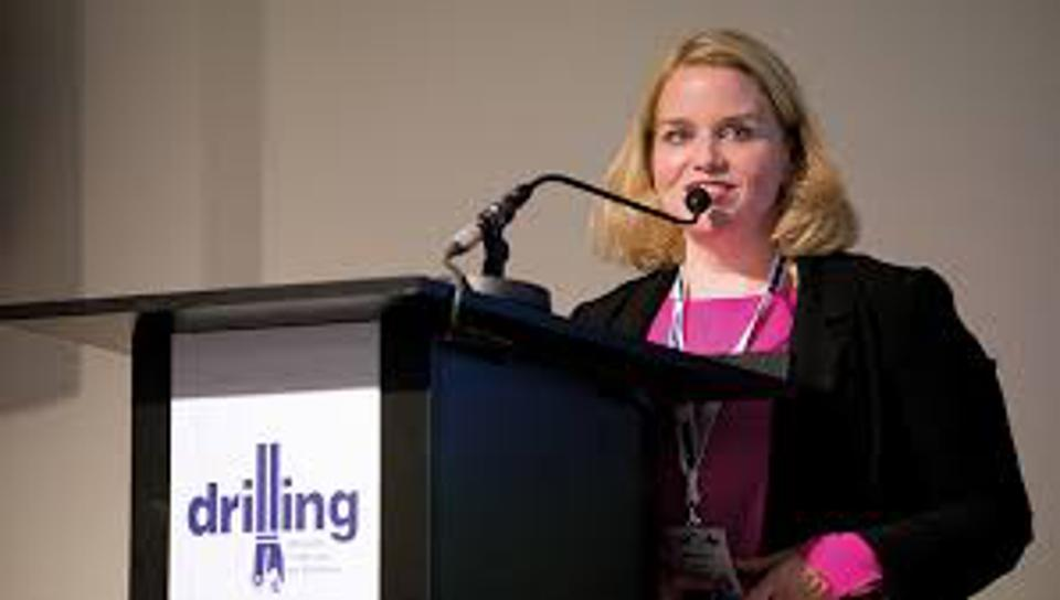 Katie Mehnert at oil and gas drilling event