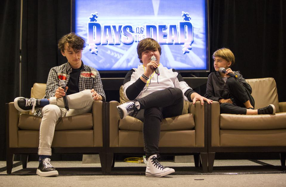 (Left to right) Actors Wyatt Oleff, Jeremy Ray Taylor and Jackson Robert Scott discuss the It franchise during a Days of the Dead panel discussion. Saturday, November 23, 2019 at the Crowne Plaza Hotel in Rosemont, IL (Photo by Barry Brecheisen)