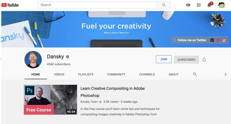 Video creator ″Dansky″ or Daniel White creates educational content on Adobe products.