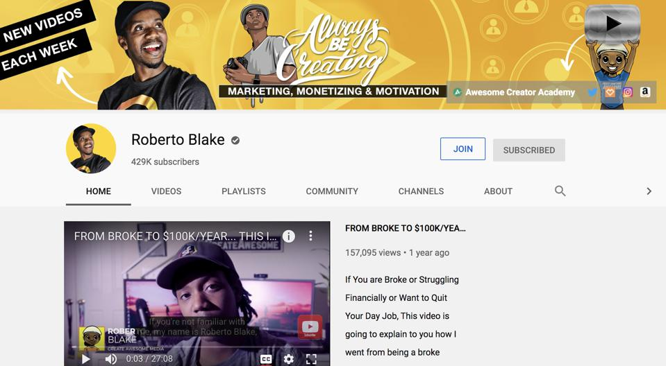 Roberto Blake's YouTube channel