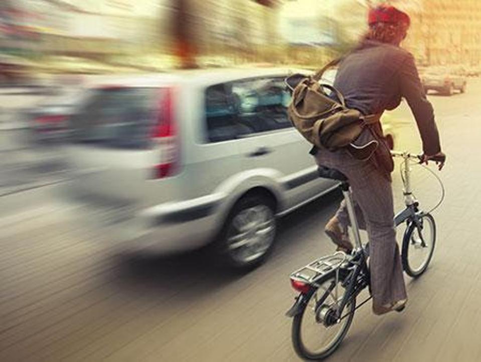 Bicyclist on city street