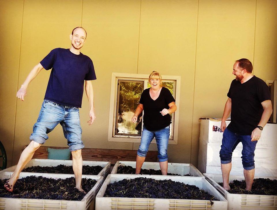 Foot Stomping the Grapes at Thacher Winery and Vineyard