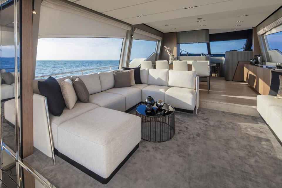 The main deck on the Ferretti 720 is spacious and stylish.