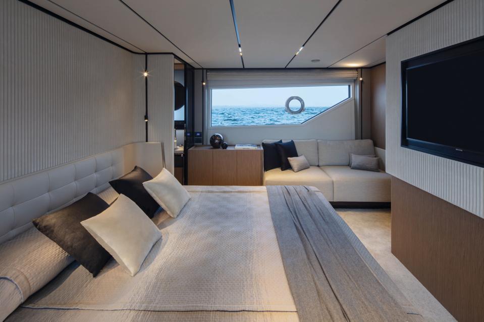 The full-beam owners cabin aboard the Ferretti 720.