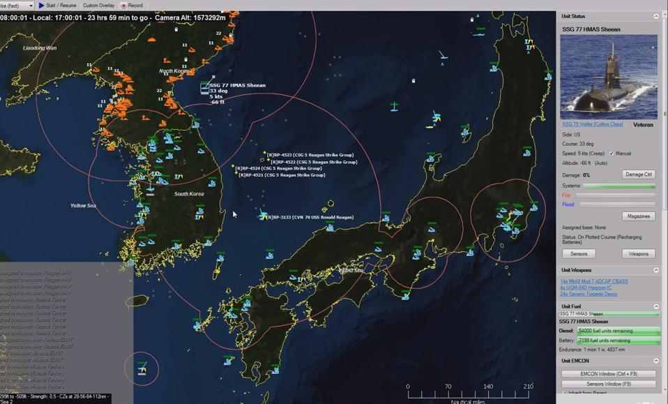 Detailed strategy map of the Korean peninsula from Command: Modern Naval Air-Operations.