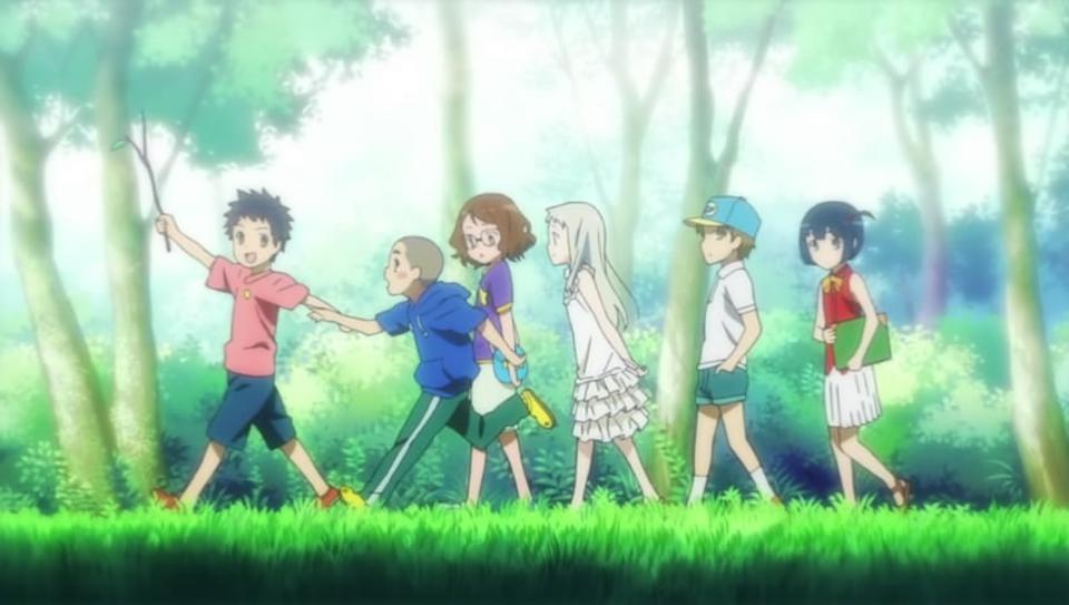 The cast of ″Anohana″ in a flashback.