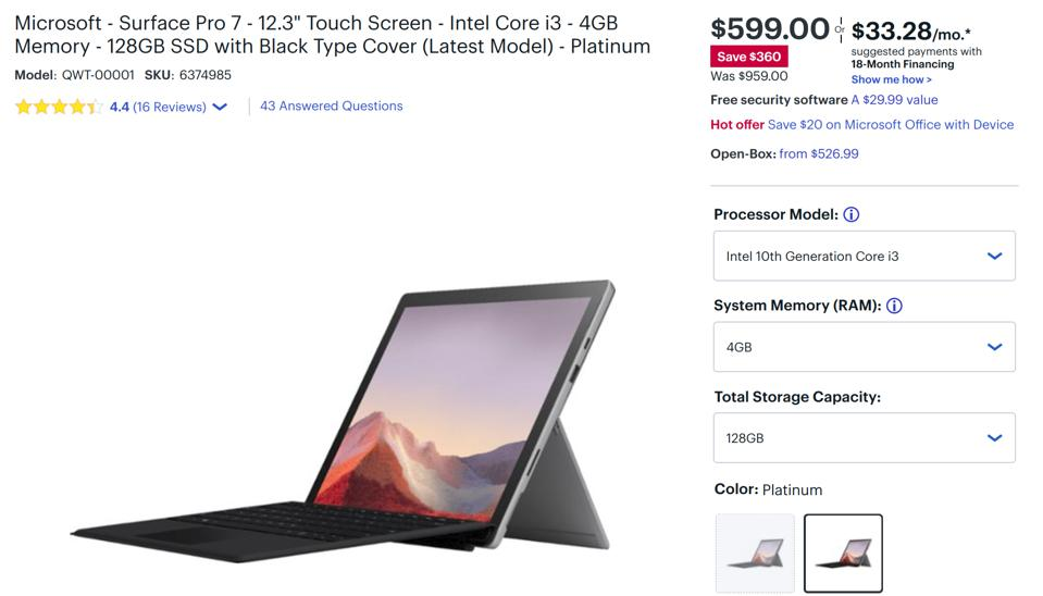 Best Surface Pro 7 deals, Microsoft Surface Pro 7 sale,