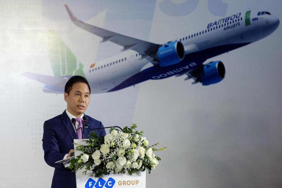 Dang Tat Thang, CEO of Bamboo Airways, speaks during a ceremony