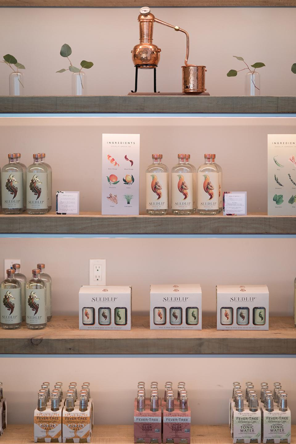 Some of the products for sale at the Seedlip General Store in Los Angeles.