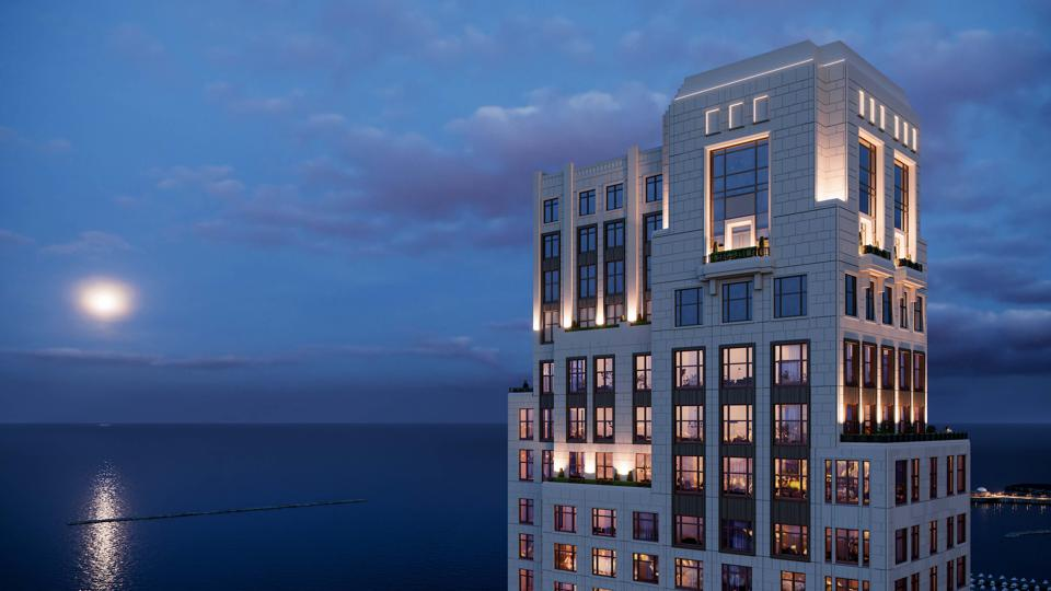 The building facade of Chicago's One Bennett Park references Art Deco-era luxury.