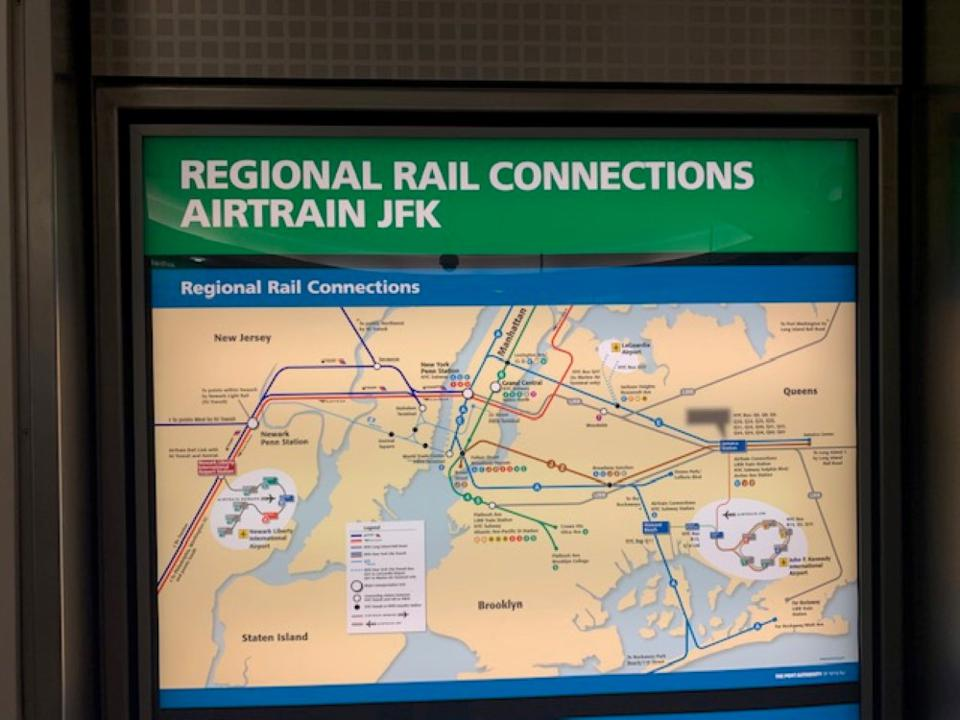 JFK Regional Rail Connections map.