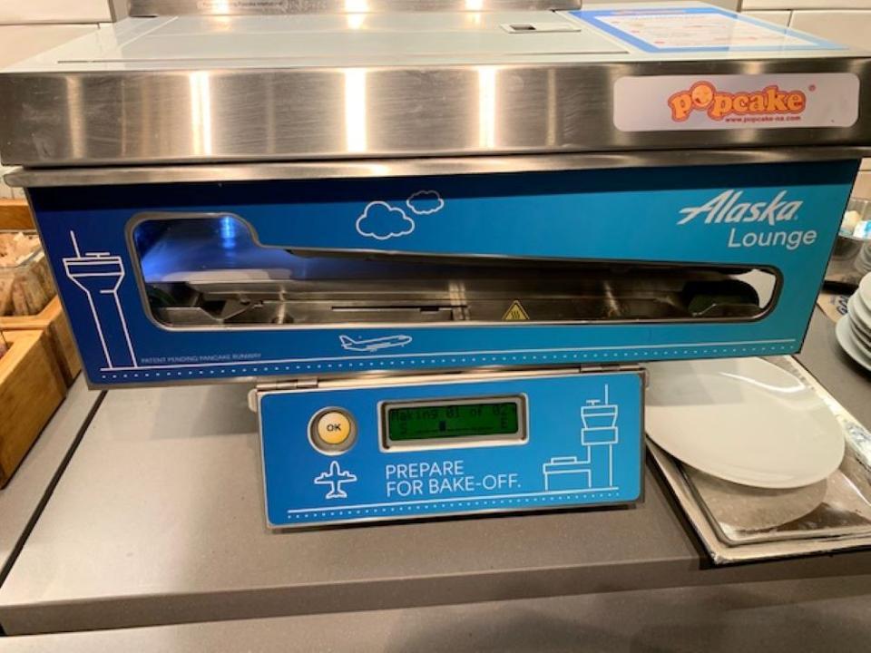 Alaska Air Lounge pancake machine.