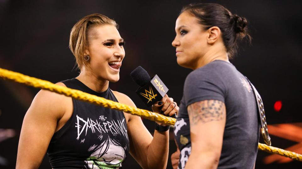 Rhea Ripley confronts Women's Champion Shayna Baszler on the Thanksgiving Ever 2019 episode of WWE NXT.