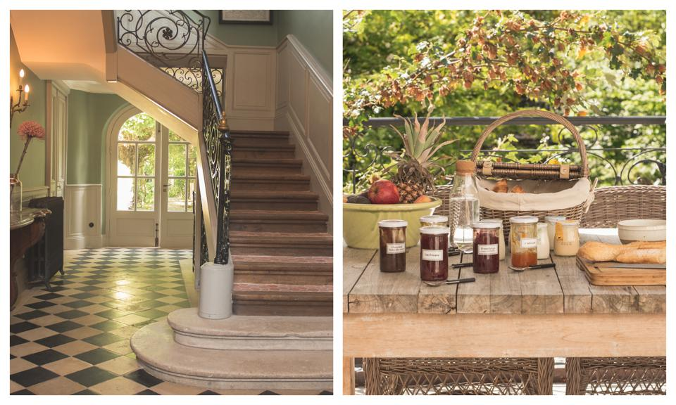 Les Tilleuls' hallway (left) and breakfast laid out on the garden table (right).