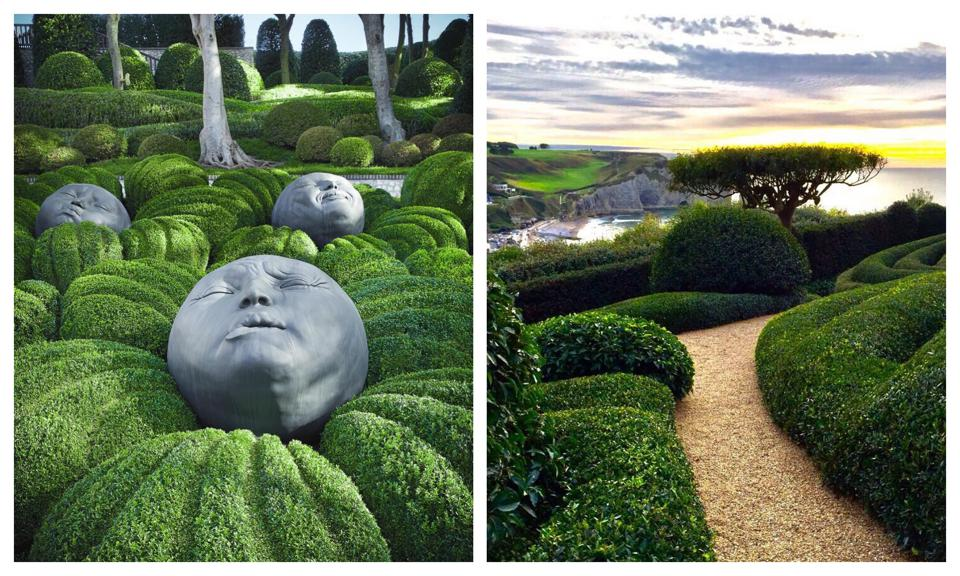 Sculptures at the Jardins d'Etretat in Normandy France (left). Views of Etretat (right).