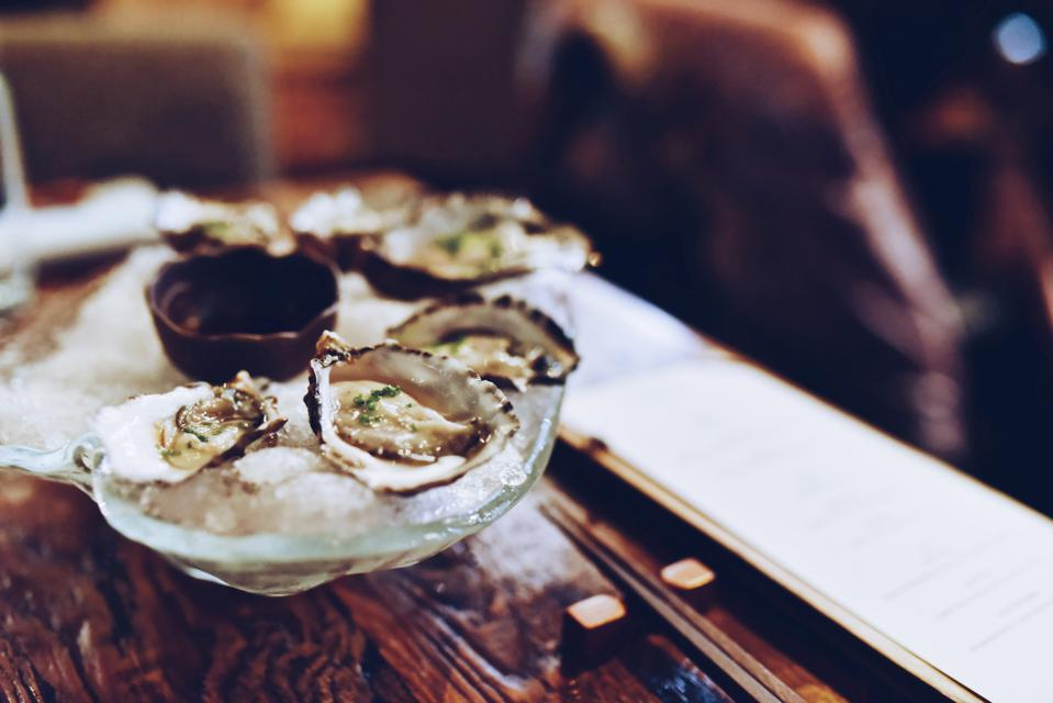 Oysters served at Marie Antoinette in Etretat Normandy.