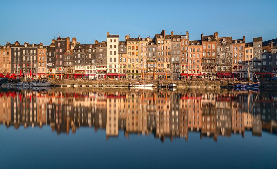 The Vieu Bassin (old basin) of port town Honfleur in Normandy.