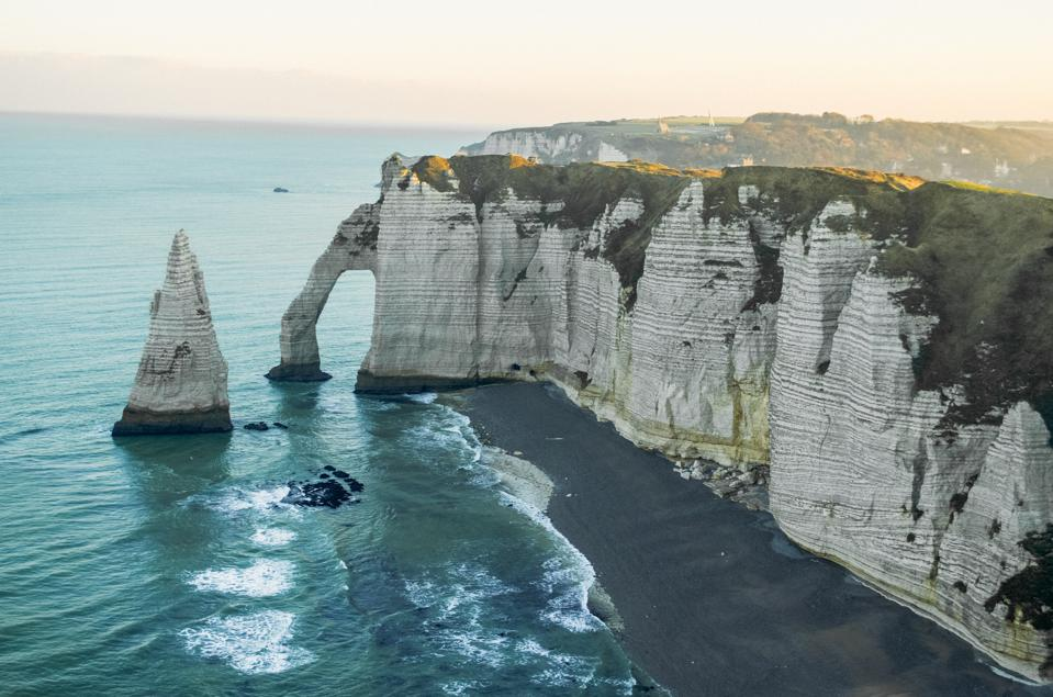 The white cliffs of Etretat in Normandy, France.