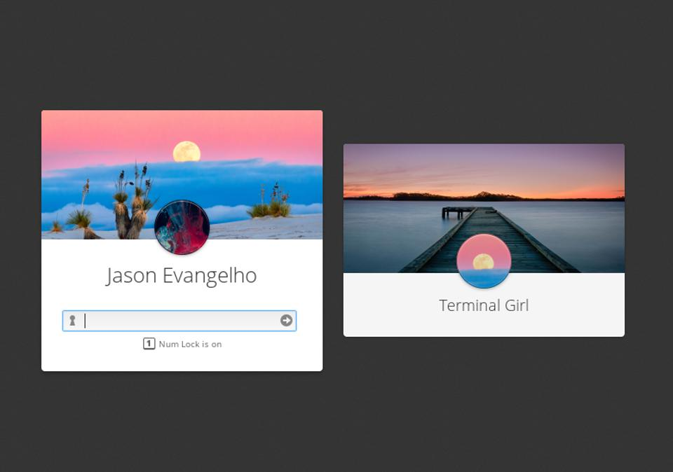 Personalized login 'cards' even display the user's desktop wallpaper