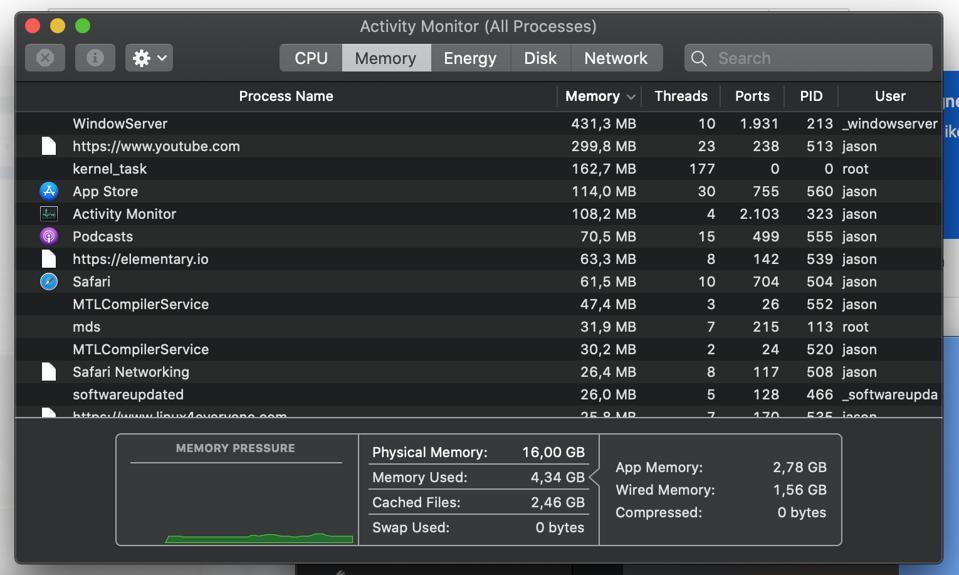 macOS Catalina RAM usage: 4.34GB