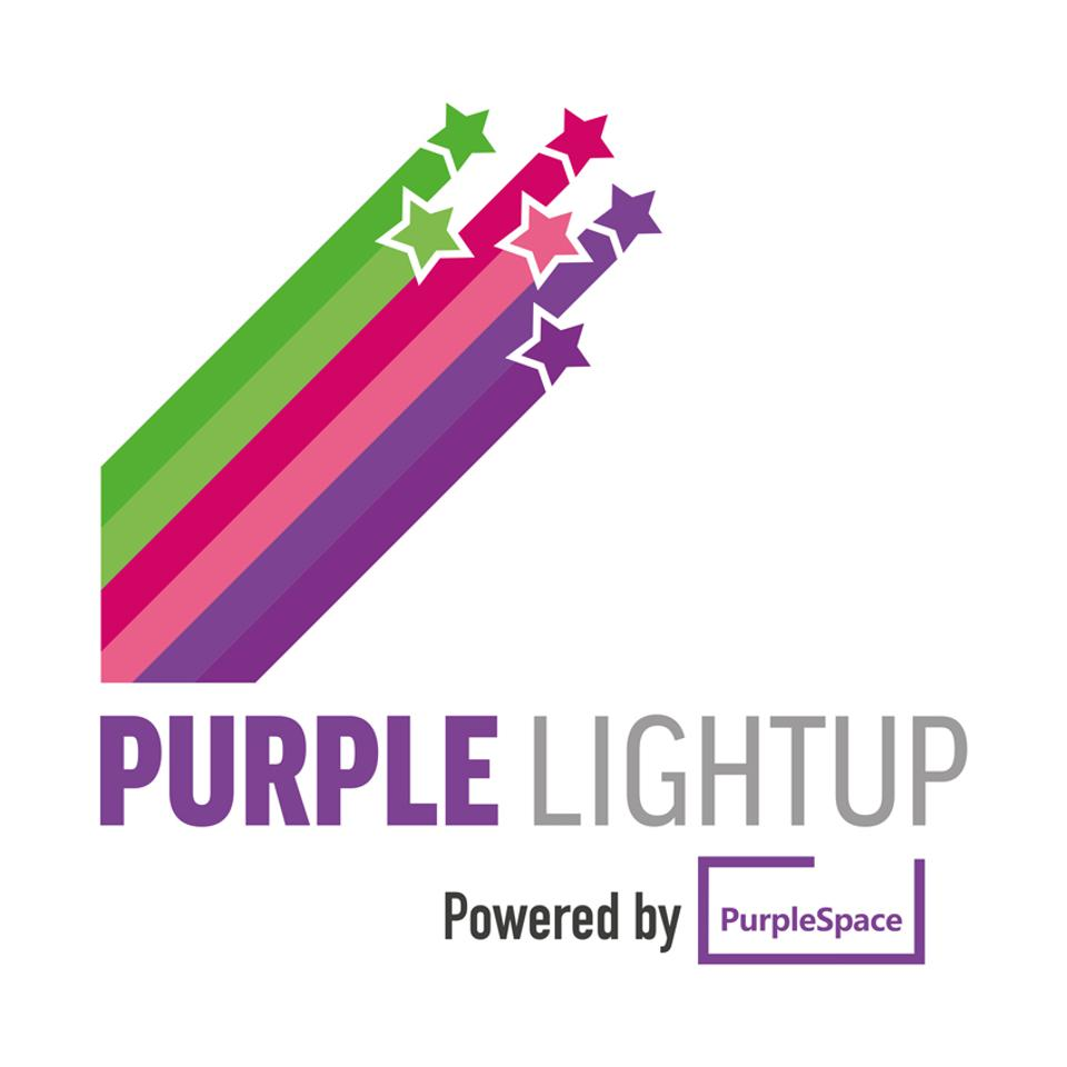 Multi-colored shooting stars with the phrase Purple Light Up