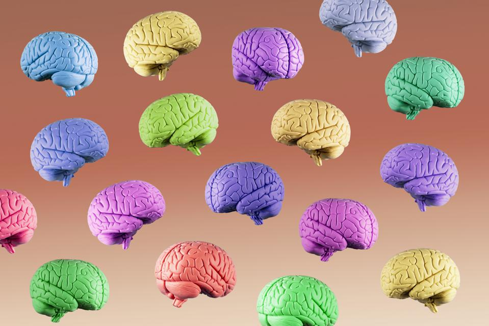 Multi colored floating brains