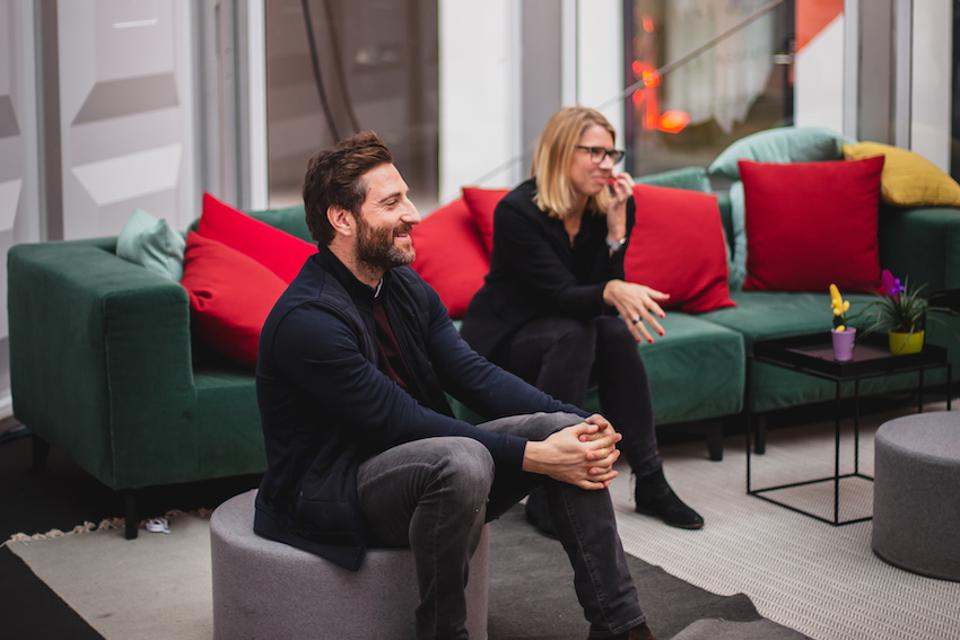 Daniel Korski, cofounder and CEO of PUBLIC, a govtech venture capitalist firm with Anja Hendel, director of Porsche Digital Lab Berlin at the Forbes Under 30 Summit Europe.