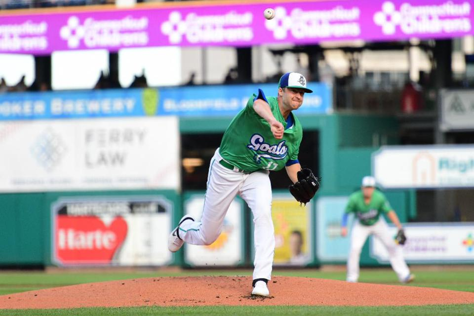 Ashton Goudeau pitching for the Hartford Yard Goats during his breakout 2019 season.