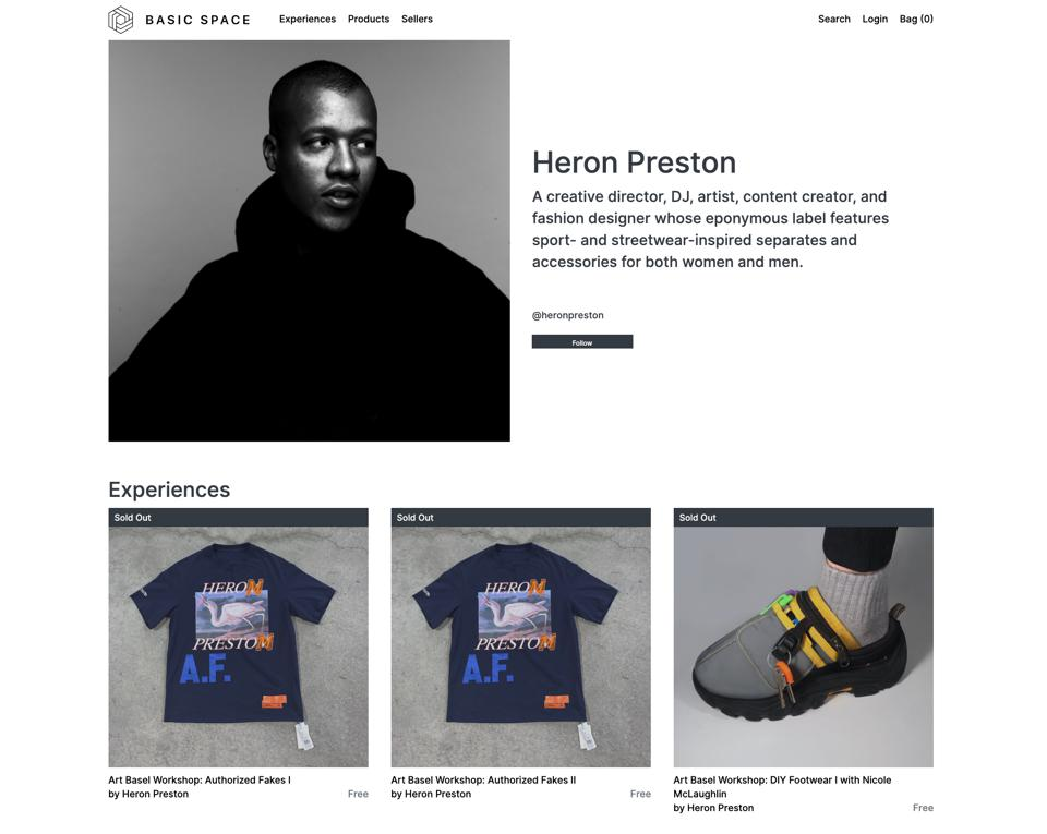 Heron Preston's Basic Space page