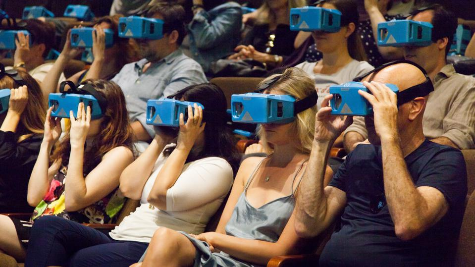 Audience wearing vr headsets