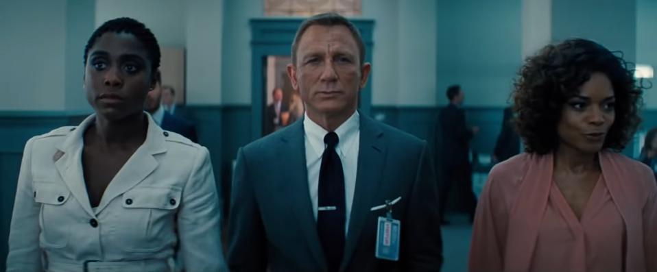 Lashana Lynch, Daniel Craig and Naomi Harris in 'No Time to Die'
