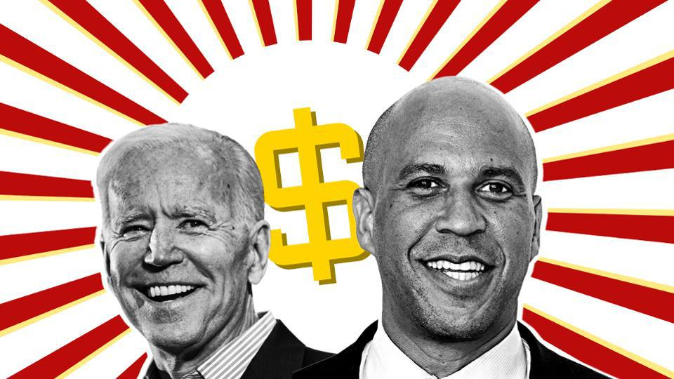 A graphic of Joe Biden and Cory Booker smiling in front of a yellow dollar sign.