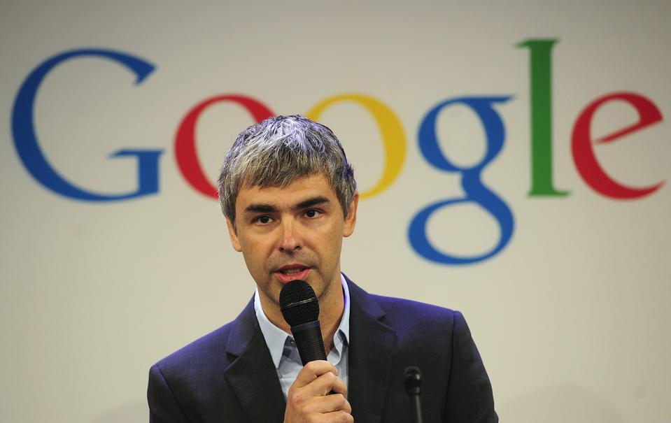 Former Google CEO Larry Page holds a press announcement.
