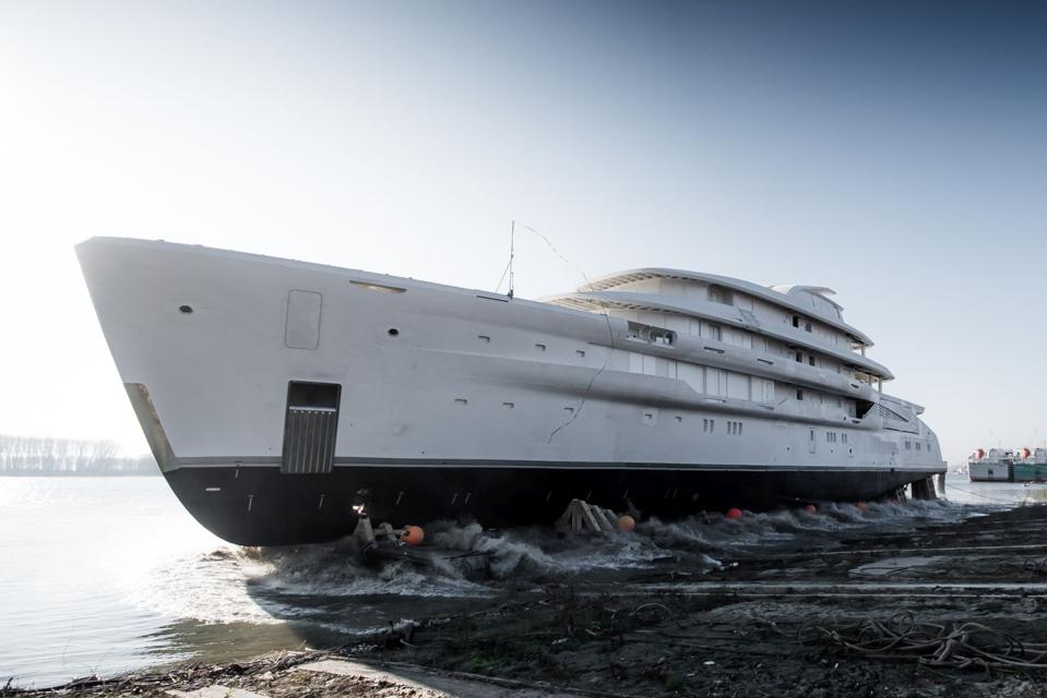 The largest Full Custom Yacht from Amels is launched.