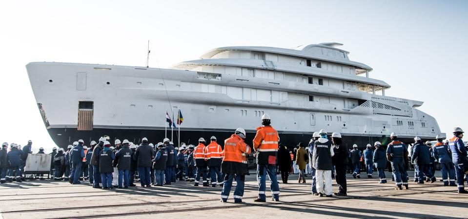 The largest superyacht by volume AMELS has built to date gets ready to launch.