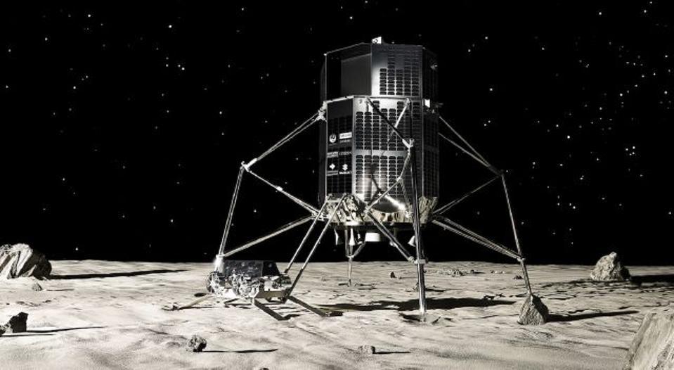 An artist's concept of a lunar lander