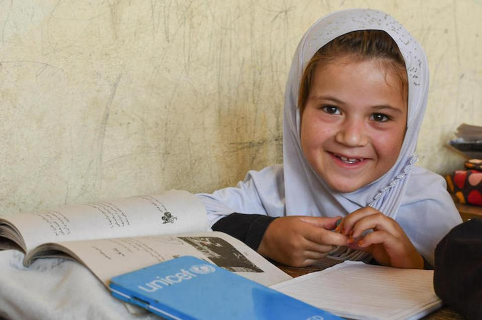 Sharzad, 7, a student at Turgani High School in Faizabad, Afghanistan, wants to be a teacher when she grows up.
