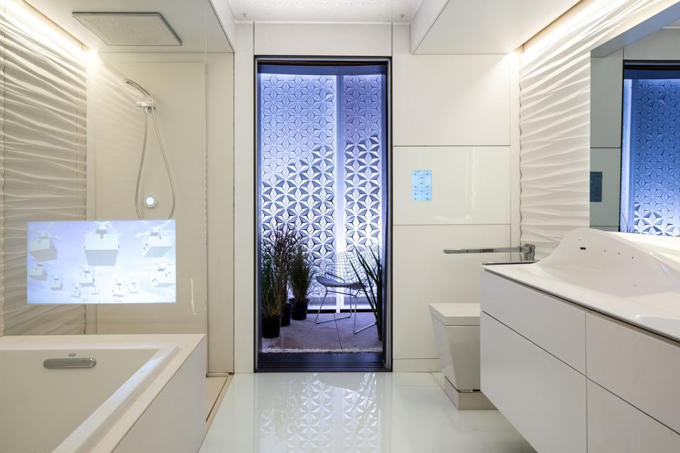 Bathroom with smart home technology for seniors.