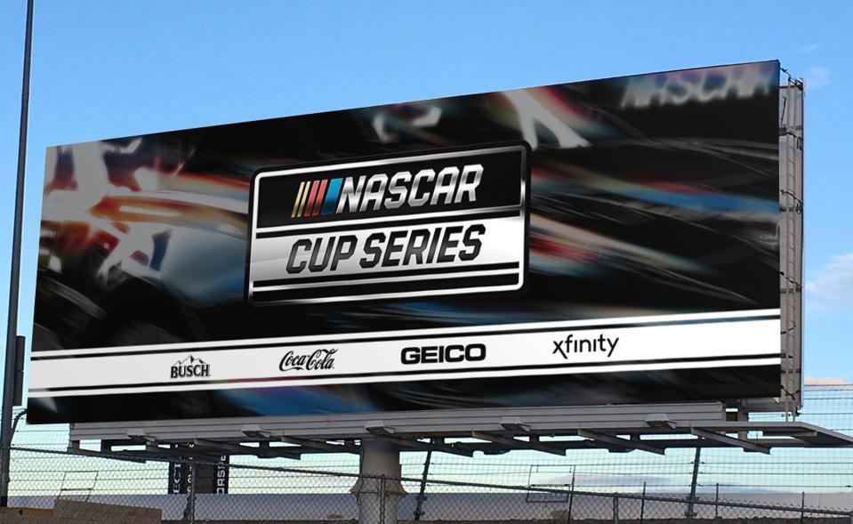 NASCAR billboard with sponsors