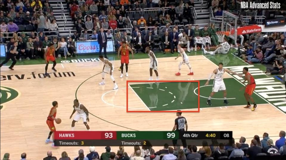 The lane appears to be wide open when Trae Young has the ball up top.