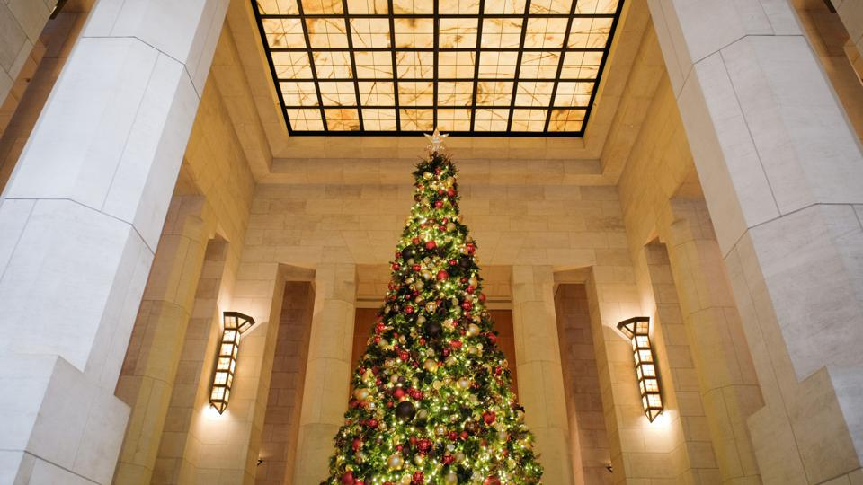A classic tree adorns the lobby of the Four Seasons Hotel.
