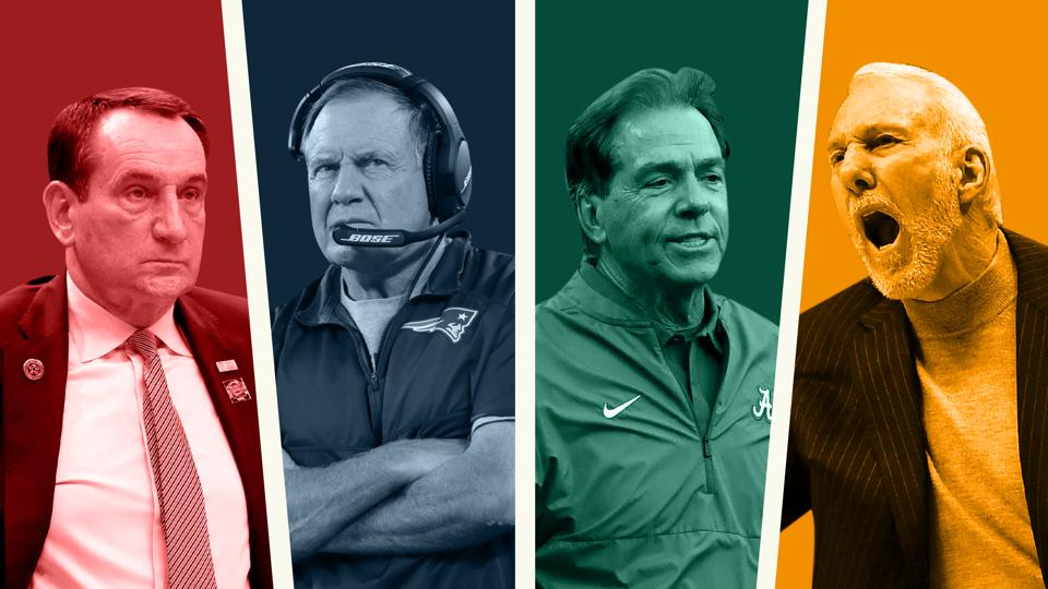 Four of the highest paid American coaches edited in a collage together.