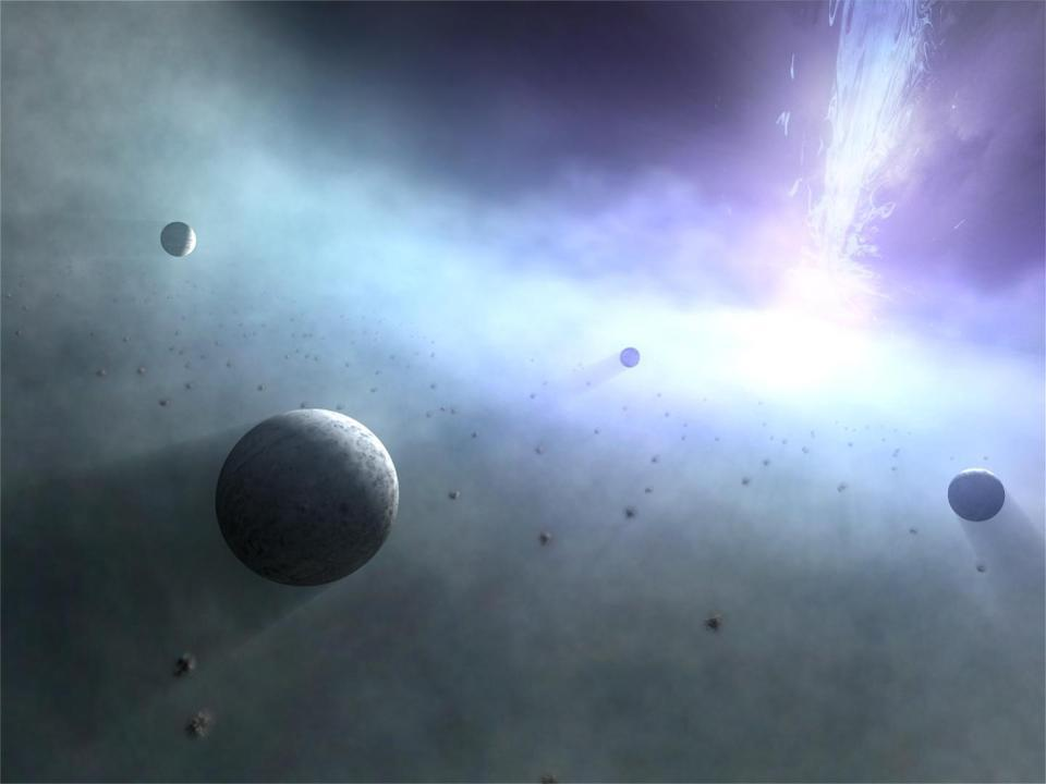 An illustration of planets orbiting a supermassive black hole.