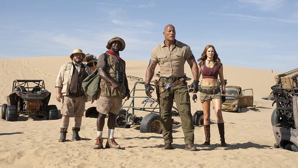 Jack Black, Kevin Hart, Dwayne Johnson, and Karen Gillan in 'Jumanji The Next Level'