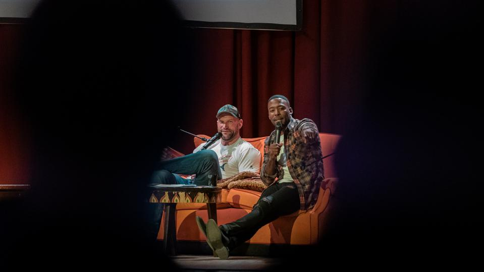 Joe Thomas (left) and Andrew Hawkins co-host The ThomaHawk Show podcast on The UNINTERRUPTED.