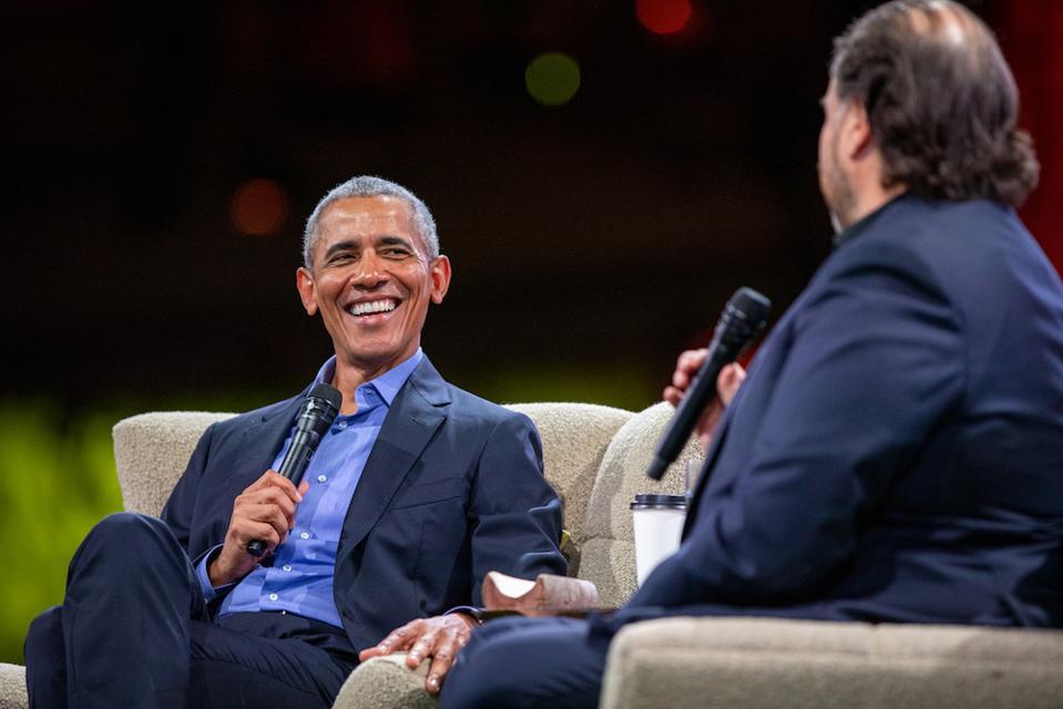 President Barack Obama in conversation with Salesforce Founder Marc Benioff Dreamforce 2019