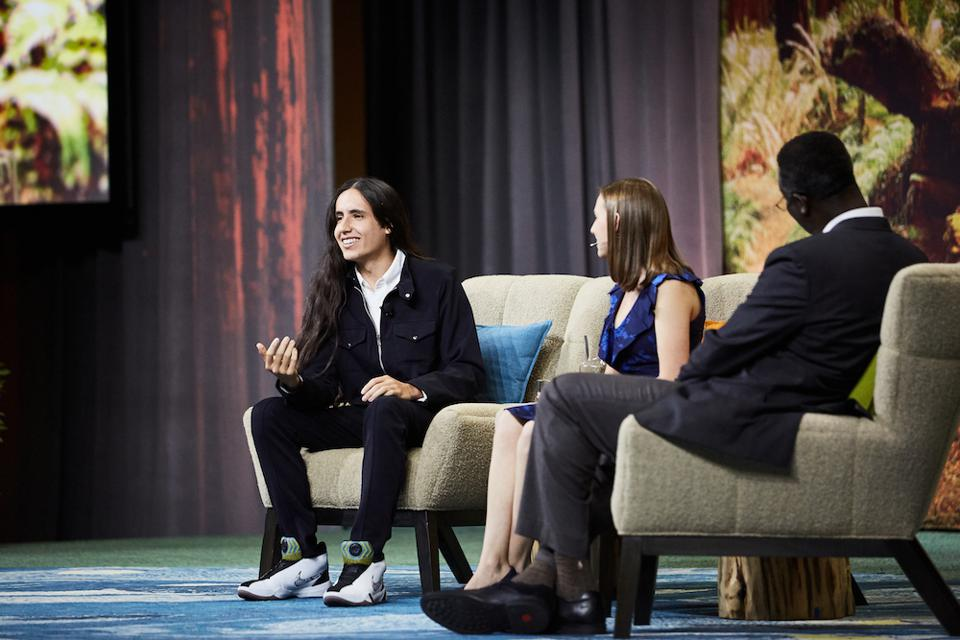 Earth Guardians Youth Director Xiuhtezcatl Martinez and Alexandria Villaseñor, co-founder of US Youth Climate Strike and founder of Earth Uprising at Dreamforce 2019
