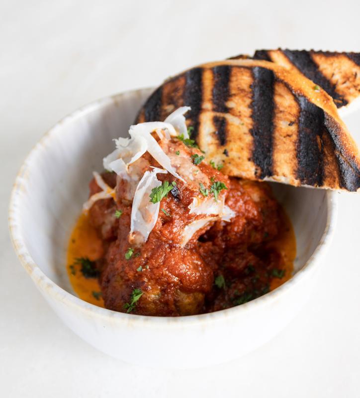 Polpetone (Pork Meatballs) with pecorino and tomato at Quiora Waikiki