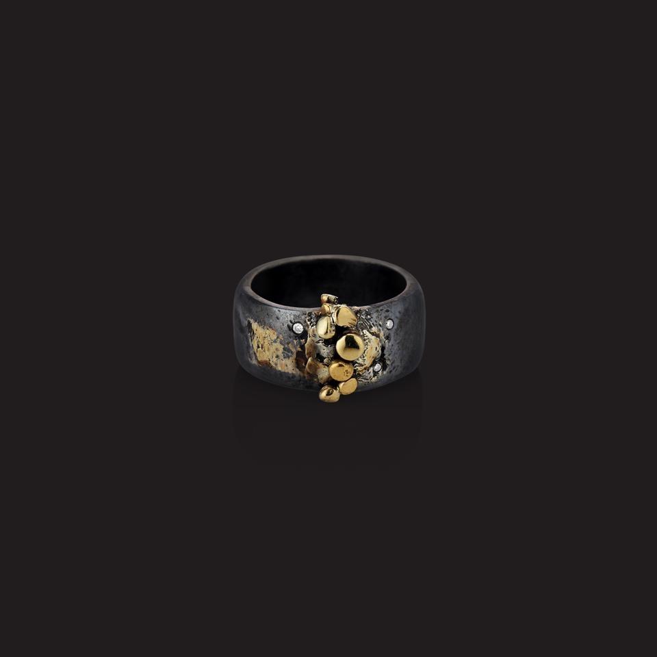 22-karat gold, sterling silver and diamond ring by goldsmith Deborah Meyers Experience.